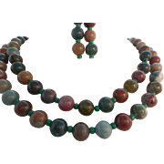 Vintage Multi-Color Jade Necklace Pierced Earrings Set