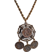 Vintage 1970's Antiqued Gold Faux French Coin Bib Pendant Necklace