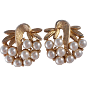 Vintage SIGNED Charel Faux Pearl Florentined Clip Earrings