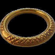 Antique Victorian Hollow Brass Repousse Jingle Bracelet