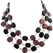 Vintage Black and Pink Glass Bead Necklace