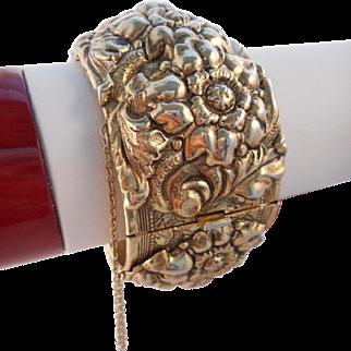 Vintage Goldtone Repousse Flower Cuff Bracelet