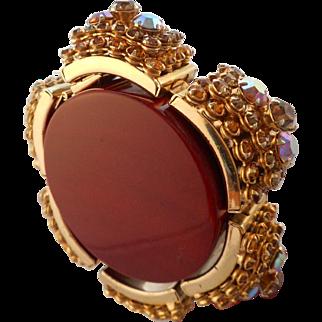 Vintage Pink Aurora Borealis Gold Austrian Crystal Rhinestone Cuff Bracelet