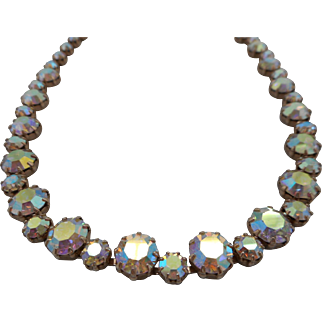 Vintage SIGNED Weiss Pink Aurora Borealis Polychromatic Austrian Crystal Necklace