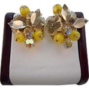 Vintage SIGNED Coro Molded Glass Flower Yellow Bead Clip Earrings
