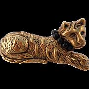Vintage 1960's Napier Gold Antiqued Cat Pin/Brooch