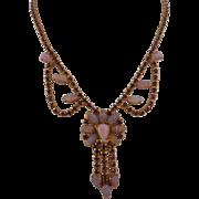 Vintage Faux Opal Pink Purple Rhinestone Necklace