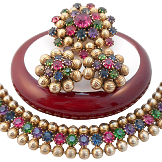 Vintage SIGNED Weiss Multi-Color Austrian Crystal Rhinestone Demi-Parure HTF
