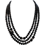"Vintage 1920's 60"" Black Czech Glass Bead Rhinestone Sautoir Flapper Necklace"