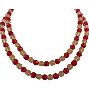 """Vintage 34"""" Red Canary Yellow Faceted Glass Crystal Necklace"""