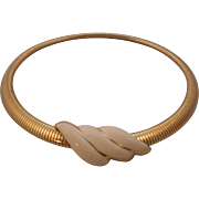 Vintage SIGNED Monet Gold Serpentine Enamel Collar Necklace