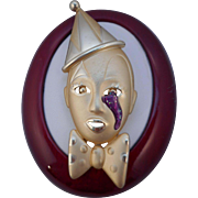 Vintage Gold Plated Pierrot Clown Pin Brooch