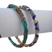 Vintage Enamel and Cloisonne Butterfly Bangle Bracelets