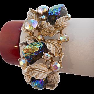 Rare Vintage SIGNED HAR AB Lava Rock Fantasy Clamper Bracelet