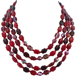 Vintage SIGNED W. Germany 4-Strand Knotted Red Molded Glass Crystal Necklace
