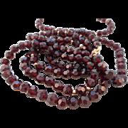 Vintage 14K GF Garnet Red Faceted Czech Glass Necklace Bracelet Set