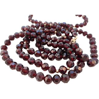Vintage 14K GF Garnet Red Faceted Czech Glass Necklace Bracelet Set