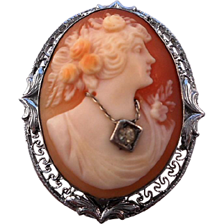 Antique Edwardian 925 Sterling Silver en habille Shell Cameo Pin Brooch