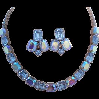 Vintage SIGNED Weiss AB Peacock Blue Austrian Crystal Rhodium Demi Parure Rare Color