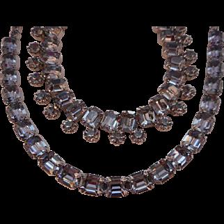Vintage SIGNED Weiss Black Diamond Austrian Crystal Rhinestone Rhodium Demi Parure