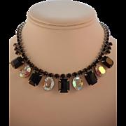 Vintage SIGNED Weiss Black and AB Austrian Crystal Rhinestone Rhodium Necklace