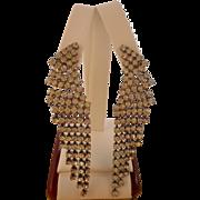 Vintage Clear Rhinestone Pierced Chandelier Earrings