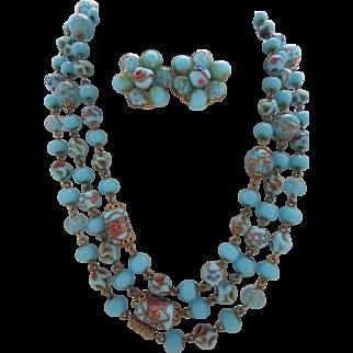 "Vintage 55"" Italian Lampwork Wedding Cake Bead Sautoir Necklace Earrings Set"