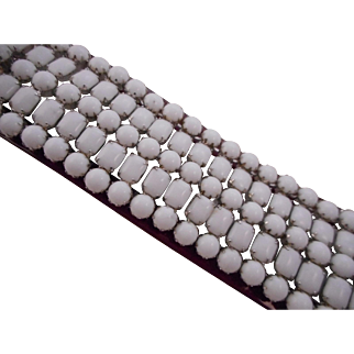 Vintage SIGNED Weiss White Milk Glass 5-Row Rhodium Bracelet HTF