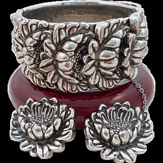 Vintage SIGNED Vargas Repousse Chrysanthemum Bracelet Earrings Set