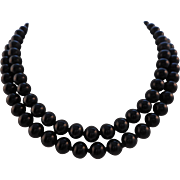 """Vintage 30"""" Signed MONET Knotted Black Glass Bead Necklace"""