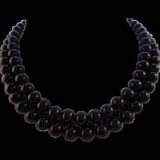 "Vintage 30"" Signed MONET Black Glass Bead Necklace"