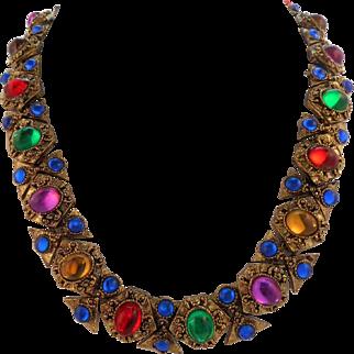 Vintage Multi-Color Gripoix Glass Cabochon Collar Necklace