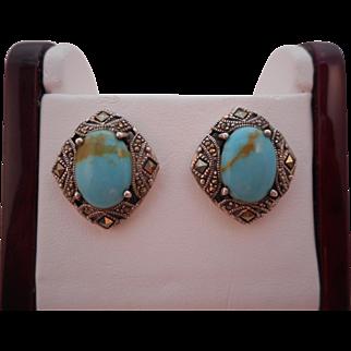 Vintage Hallmarked 925 Art Deco Sterling Silver Turquoise Marcasite Pierced Earrings