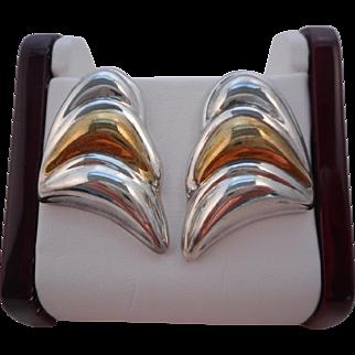 Vintage 925 Sterling Silver Vermeil Modernist Pierced Earrings