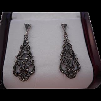 Vintage Hallmarked 925 Sterling Silver Marcasite Art Deco Pierced Earrings