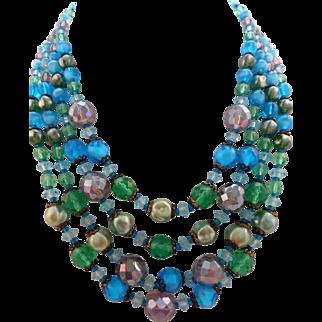 Vintage SIGNED Laguna Blue Green Crystal Glass 4-Strand Necklace