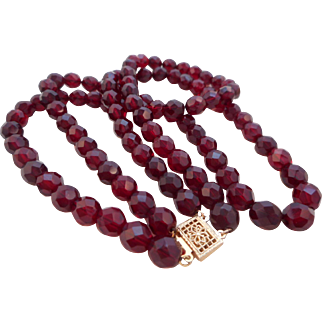 Vintage 14KGF Czech Glass Garnet Red Faceted Bead Necklace