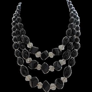 Vintage 3-Strand Black Glass Necklace Japan