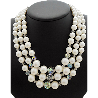 Vintage SIGNED Laguna Faux Pearl Crystal 3-Strand Necklace