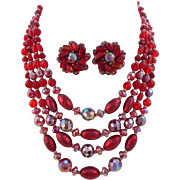 Vintage ALL GLASS Signed W. Germany 4-Strand Red Glass Bead Necklace Earrings Set