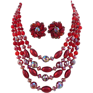 Vintage SIGNED W. Germany 4-Strand Red Glass Bead Necklace Earrings Set