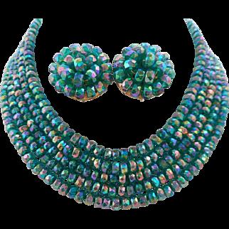 Vintage Teal Carnival Glass Crystal 5-Strand Necklace Earrings Set