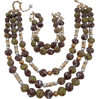 Vintage SIGNED Kramer Glass Bead Faux Pearl 3-Strand Necklace Bracelet Demi Parure