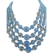 Vintage 1950's Baby Blue Lucite Crackle Bead 4-Strand Necklace