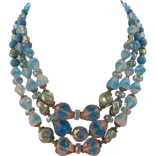Vintage GLASS SIGNED W. Germany Blue Crystal and Givre Glass Bead 3-Strand Necklace