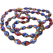"Vintage 27"" Knotted Capped Millefiori Glass Bead Necklace"