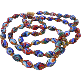 """Vintage 27"""" Knotted Capped Millefiori Glass Bead Necklace"""