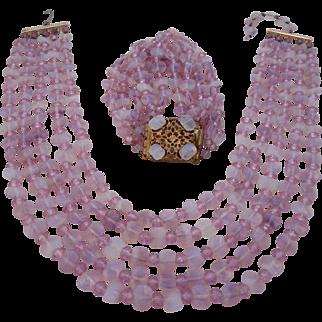 Vintage GLASS Pink and Opaline Bead 5 Strand Necklace Bracelet Set