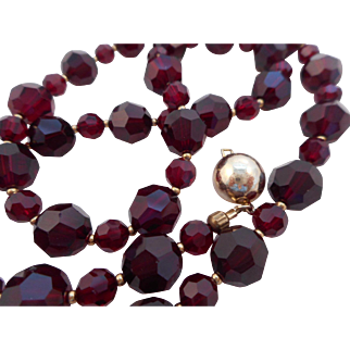 """Vintage 20"""" Deep Red Faceted Glass Bead Necklace Marked 925 Vermeil"""