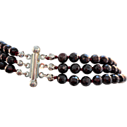 """Vintage 20"""" Heavy Czech Faceted Red Garnet Glass Bead 3 Strand Knotted Necklace"""